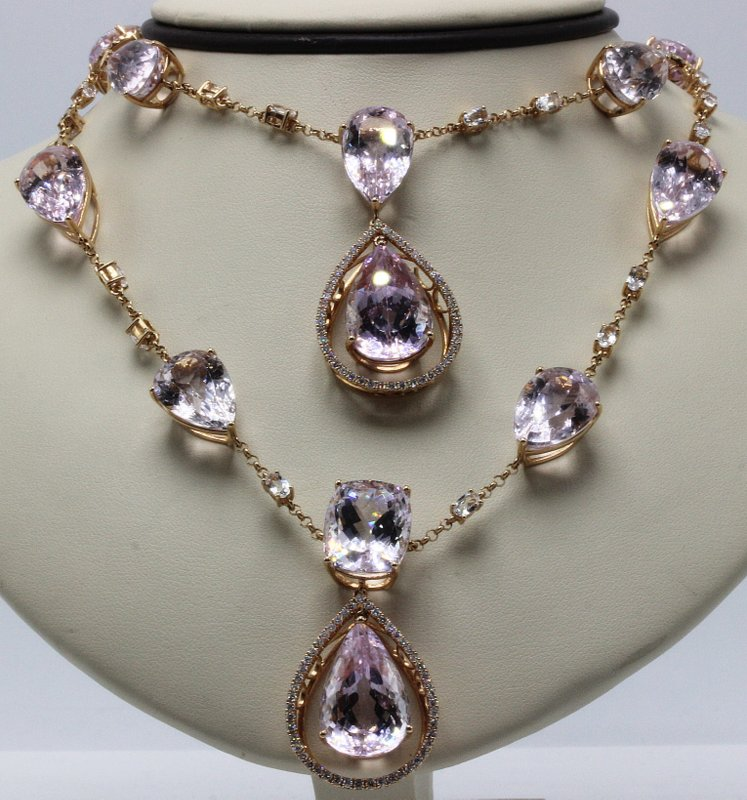 18Kt RG 175ct. Kunzite, 8.60ct. Topaz & 2.50ct. Diamond Necklace