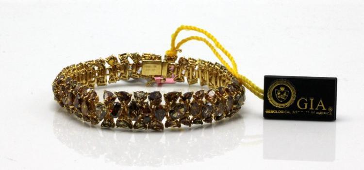 18Kt YG 31.12ct. Champagne Diamond Bracelet