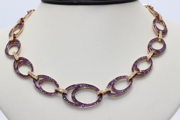 18Kt RG 11.38ct. Pink Sapphire & 0.66ct. Diamond Necklace