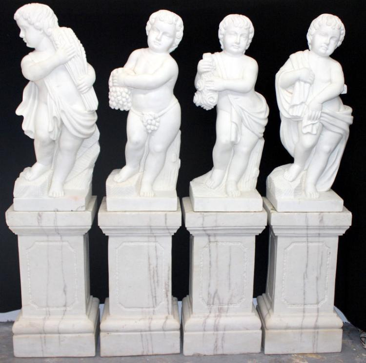 Monumental White Marble 4 Seasons Cherub Statues
