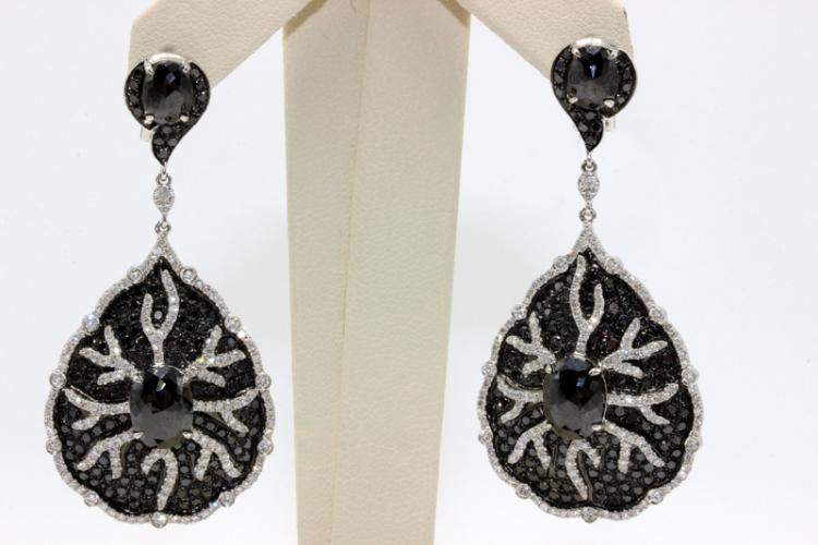 18Kt WG 9.32ct. White & Black Diamond Earrings
