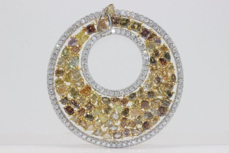 18Kt Two Tone 10.11.00ct. Champagne Diamond Pendant