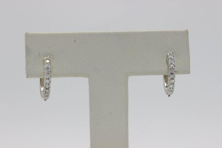 18Kt WG Diamond Hoop Earrings