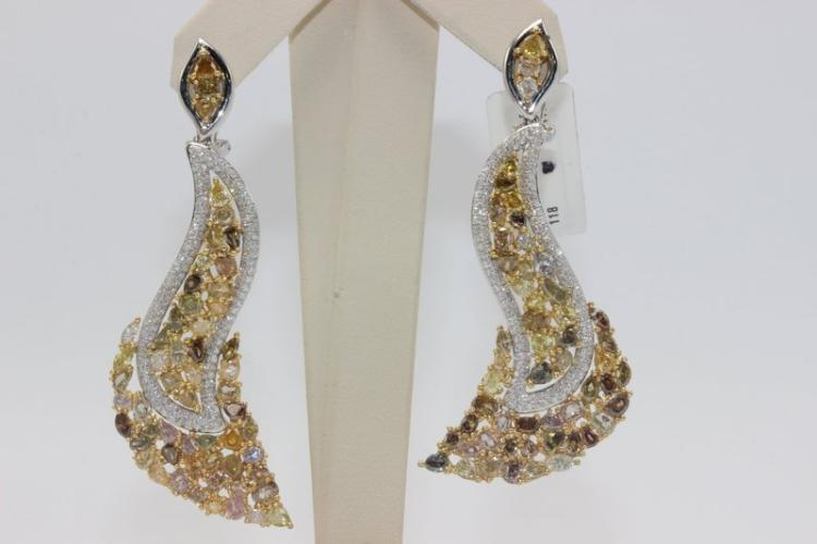 18Kt YG 13.70ct. Champagne Diamond Earrings