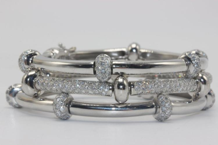 18Kt WG 7.50ct. Diamond Bangles