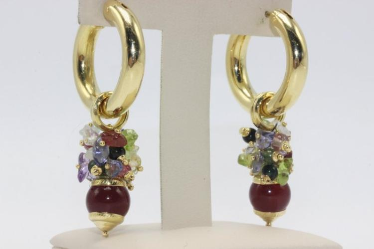 18Kt YG Semi-Precious Stone Earrings