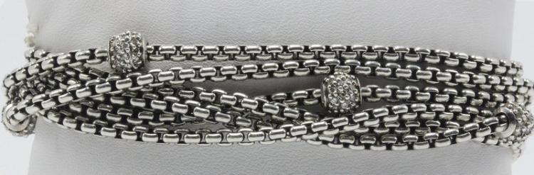 David Yurman 18Kt YG & Sterling Diamond 6-Strand Bracelet