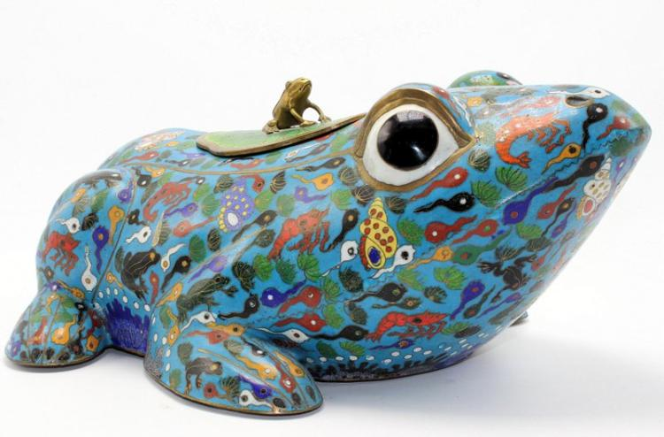 Large Chinese Cloisonne Frog