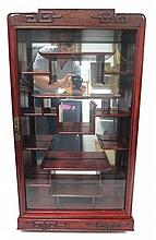 Oriental Carved Rosewood Netsuke Cabinet
