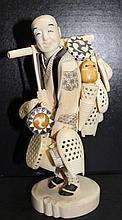 Impressive Japanese Carved Ivory Basket Seller