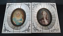 Pair of Hand Painted Paintings w/ Ivory Frames