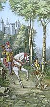 French Palace Size Enameled Painting