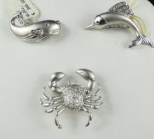 3 pc. 14Kt WG Sailfish, Crab, Whale Pins