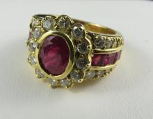 18Kt YG Diamond & Ruby Cartier Style Ring