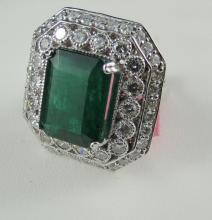14Kt WG 5.01ct Emerald & 1.97ct Diamond Ring