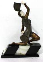 After Dimitre Chiparus Oriental Fan Dancer Bronze & Ivory Sculpture