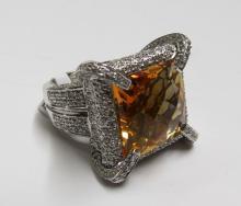 18Kt WG 2.90ct Diamond & 14.97ct Citrine Ring