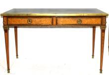 Antique Louis XVI Bronze, Marquetry Inlaid Table