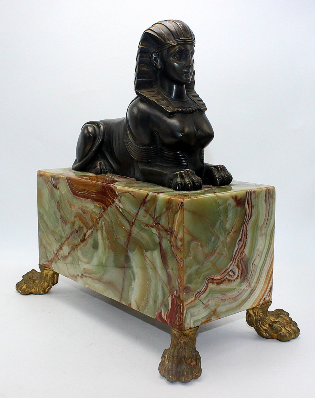 Bronze Egyptian Revival Sphinx Mounted On Onyx