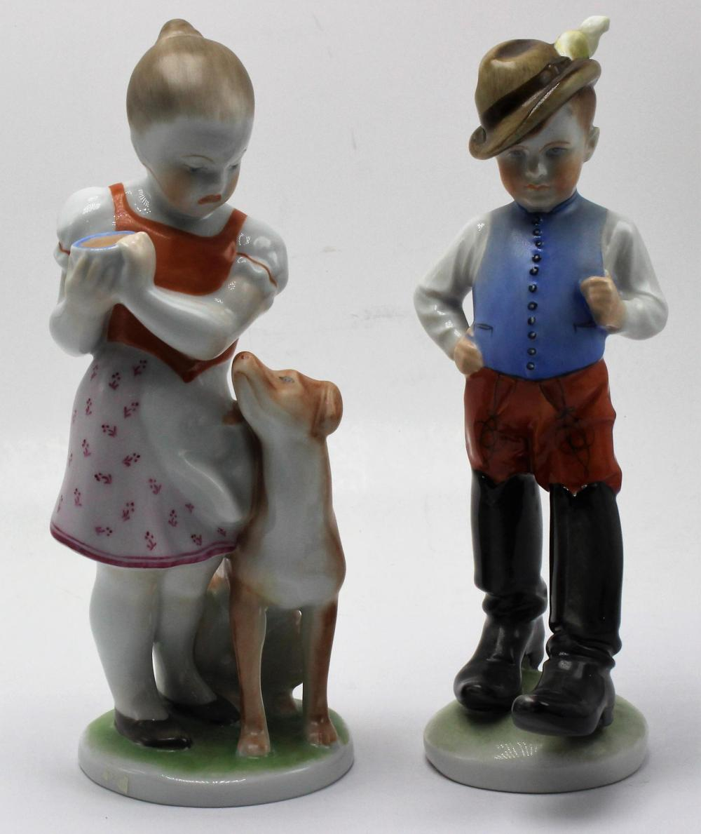 2 pc Herend Hungary Girl with Dog and Tom Boy Figurines
