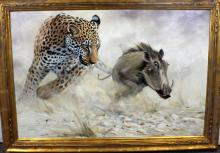 """Grant Hacking Oil on Canvas """"Leopard Chasing a Warthog"""""""