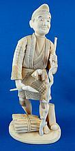Late 19th C. Japanese Carved Ivory Okimono Farmer Figurine