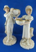 Pair of Royal Worcester Couple with Baskets