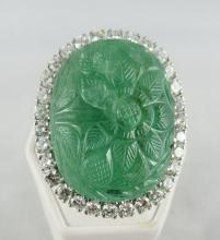 Platinum 40.00ct Emerald & 4.00ct Diamond Ring & Pendant