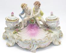 Sitzendorrf (Germany) Porcelain Inkwell
