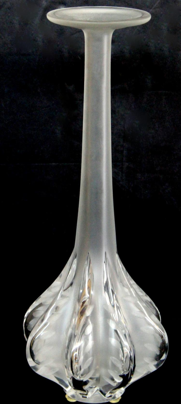Lalique crystal tall bulbous vase for Lalique vase