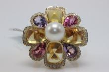 Chanel 18Kt YG Pearl, Pink Tourmaline, Amethyst, Citrine & Diamond Ring