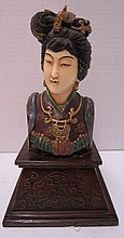 Antique Chinese Hand Carved Ivory & Polychrome Bust of Quan Yen