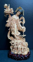 Antique Chinese Hand Carved Ivory Quan Yen