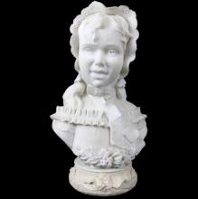 MARBLE BUST OF WOMAN WITH BASE, UNSIGNED