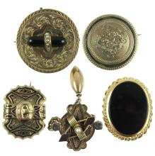 (5) FIVE VICTORIAN PINS / BROOCH 14K GOLD