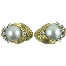 18K DIAMOND & PEARL TURBAN EARRINGS