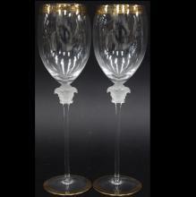 (2) ROSENTHAL VERSACE TALL WINE GLASSES