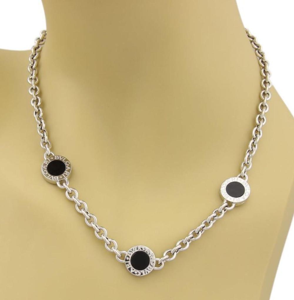 Bvlgari Onyx 18k Gold 3 Circle Station Necklace