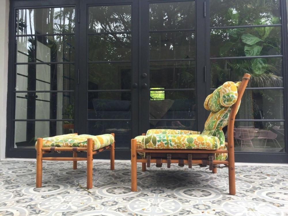 Arne Norell Inca Chair Ottoman, Arne Norell Inca Chair