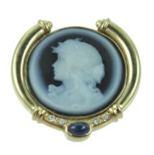 14K Carved Cameo Pendant.
