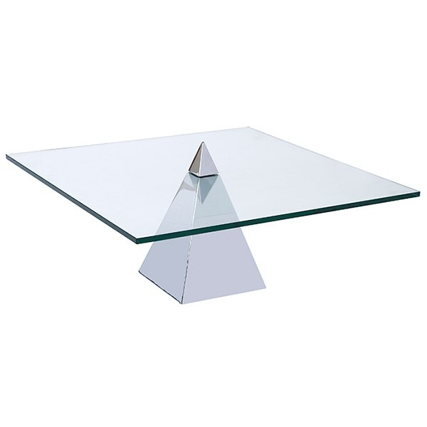 Chrome Pyramid Base Coffee Table 1970 Unsigned