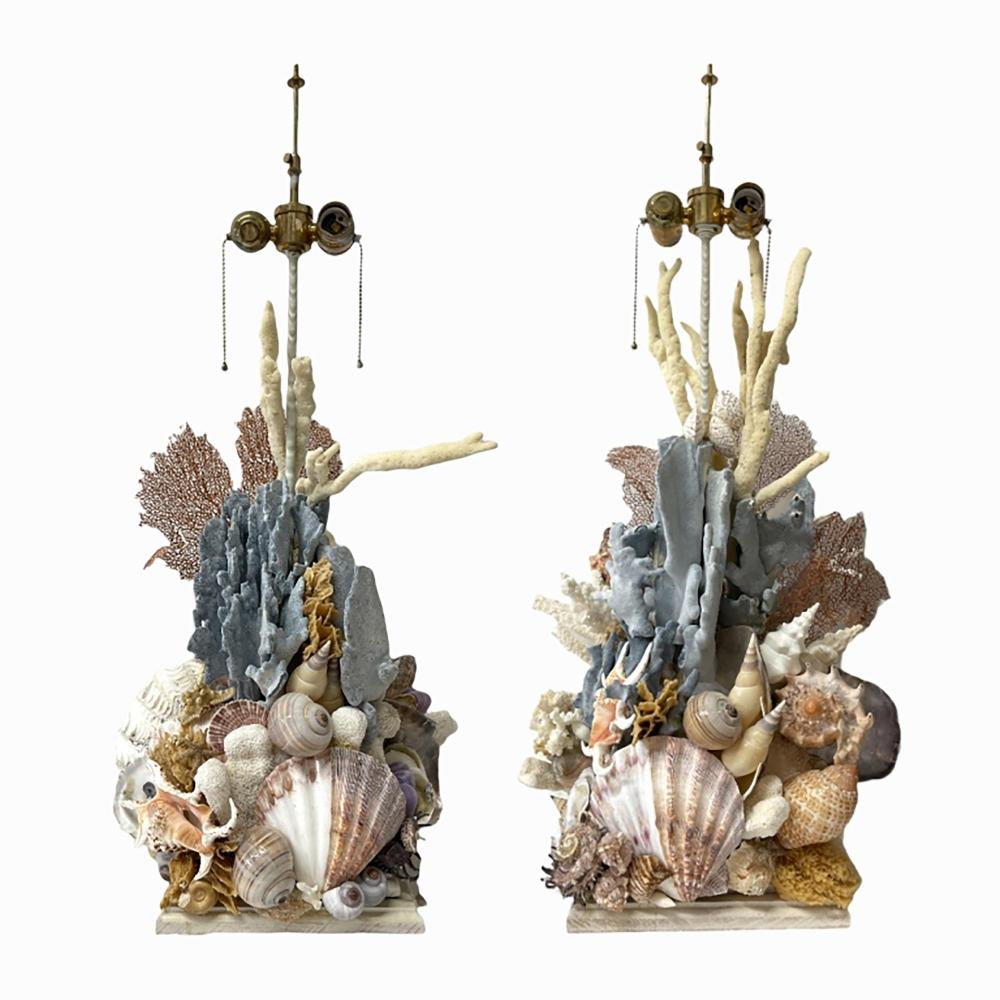 Pair Of Figural Coral And Shell Sea Life Lamps