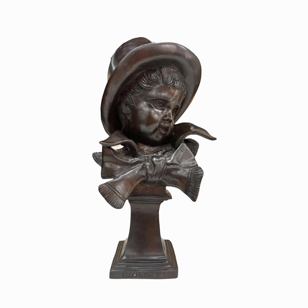 F. Houdon Bronze Bust Of Boy With Tophat & Bow Tie