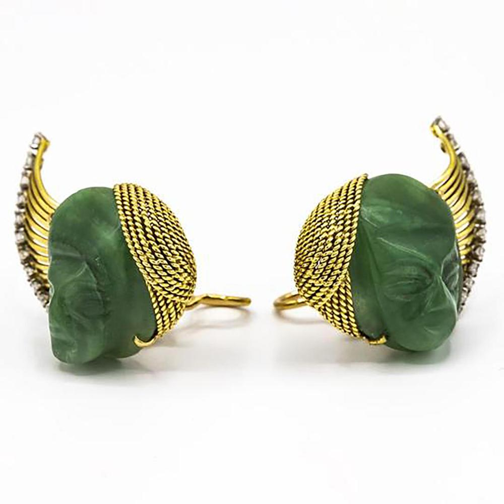 FRENCH PLATINUM & 18K YELLOW GOLD CARVED JADE FACE