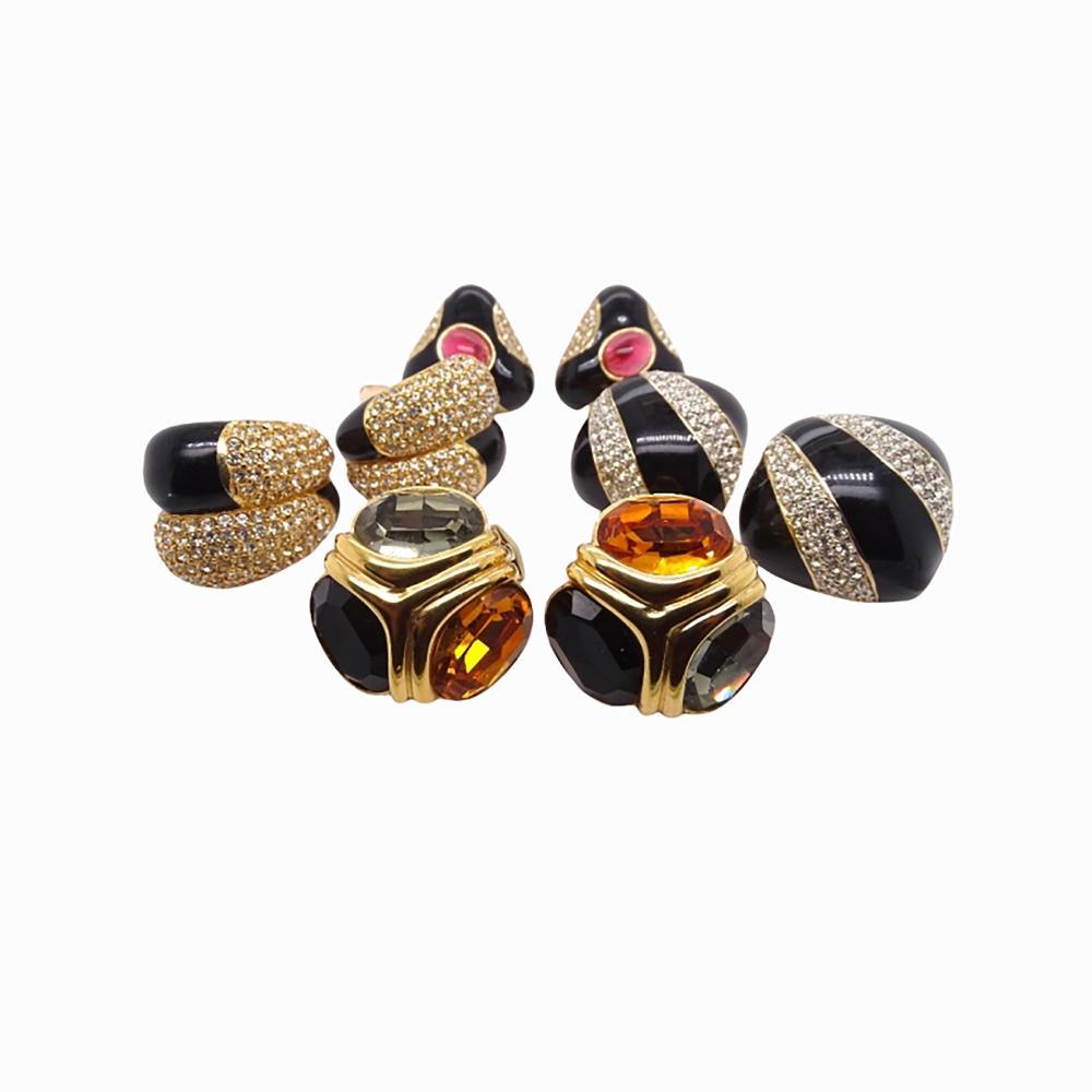 4 Pairs Ciner Gold Tone Black Enameled Earrings
