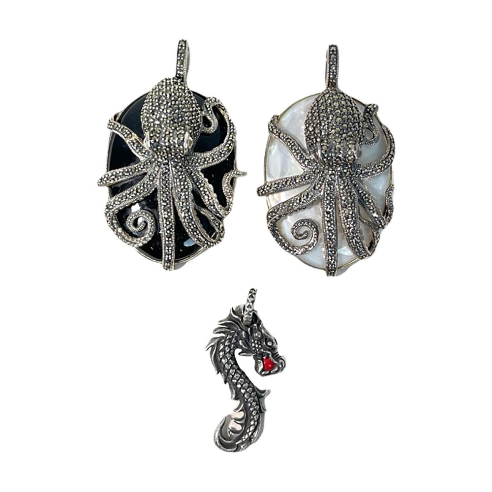 3 Sterling Silver Jeweled Octopus Dragon Pendants