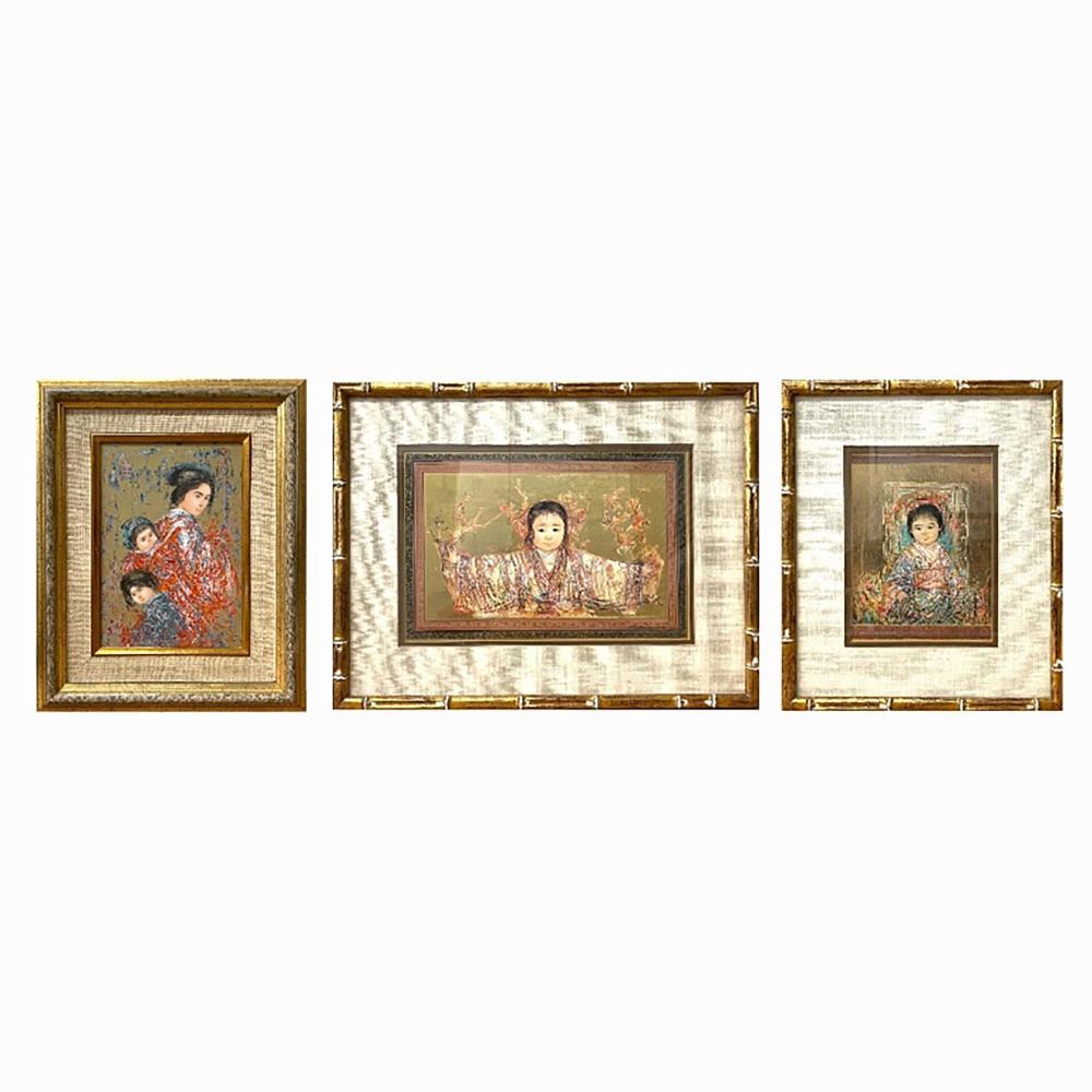3 Edna Hibel Limited Edition Prints & Plaque