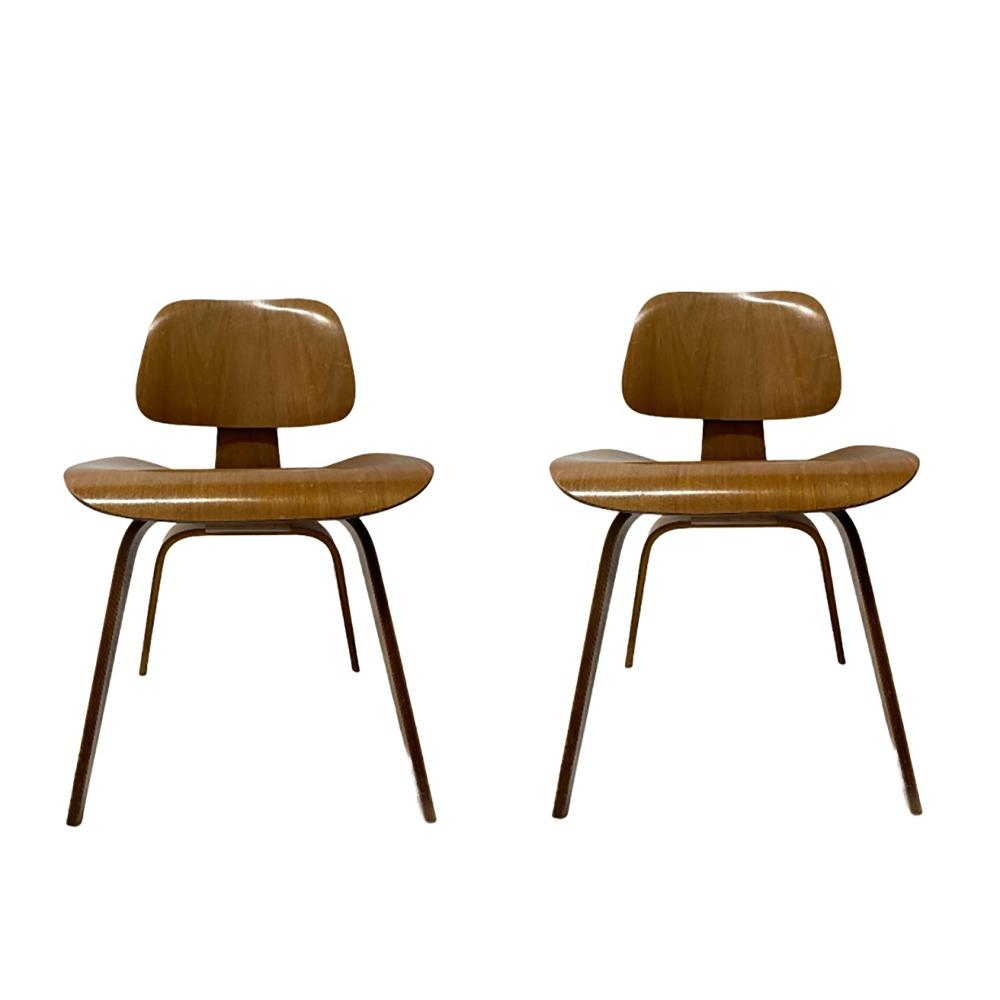 Pr Herman Miller Molded Plywood Eames Chairs