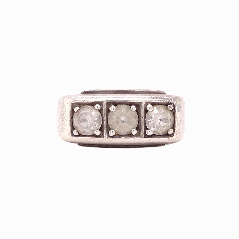 10K White Gold Three Pave Diamond Gent's Ring