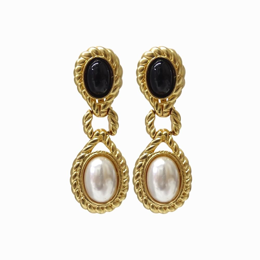Vintage Valentine Haute Couture Pear Onyx Earrings